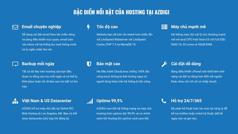 Điểm nổi bật của hosting AZdigi