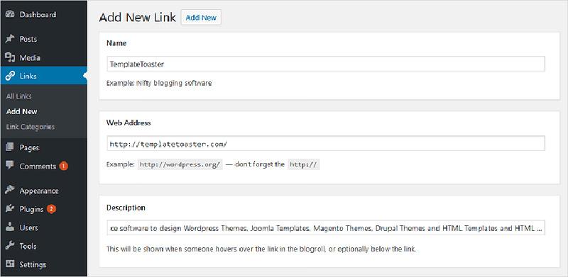 Mở lại chức năng Links Manager trong WordPress